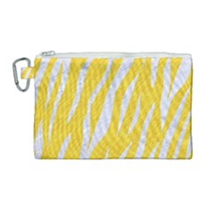 Skin3 White Marble & Yellow Colored Pencil Canvas Cosmetic Bag (large) by trendistuff