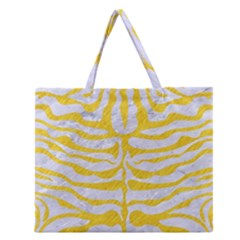 Skin2 White Marble & Yellow Colored Pencil (r) Zipper Large Tote Bag by trendistuff