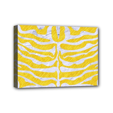 Skin2 White Marble & Yellow Colored Pencil Mini Canvas 7  X 5  by trendistuff