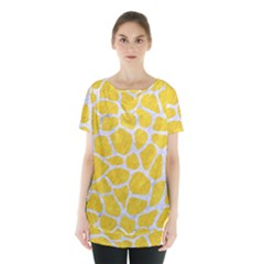 Skin1 White Marble & Yellow Colored Pencil (r) Skirt Hem Sports Top by trendistuff