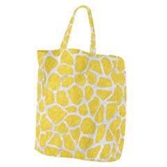 Skin1 White Marble & Yellow Colored Pencil (r) Giant Grocery Zipper Tote by trendistuff