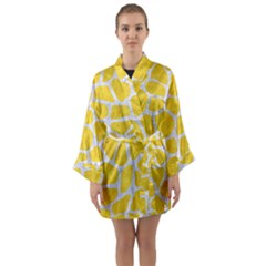 Skin1 White Marble & Yellow Colored Pencil (r) Long Sleeve Kimono Robe by trendistuff