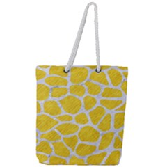 Skin1 White Marble & Yellow Colored Pencil (r) Full Print Rope Handle Tote (large) by trendistuff