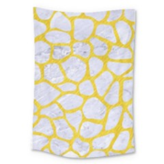 Skin1 White Marble & Yellow Colored Pencil Large Tapestry by trendistuff
