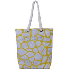 Skin1 White Marble & Yellow Colored Pencil Full Print Rope Handle Tote (small) by trendistuff