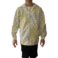 Scales3 White Marble & Yellow Colored Pencil (r) Hooded Wind Breaker (kids)
