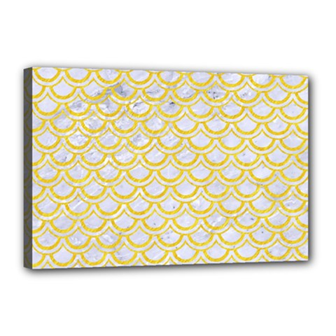 Scales2 White Marble & Yellow Colored Pencil (r) Canvas 18  X 12  by trendistuff