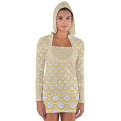 Scales2 White Marble & Yellow Colored Pencil (r) Long Sleeve Hooded T Shirt by trendistuff