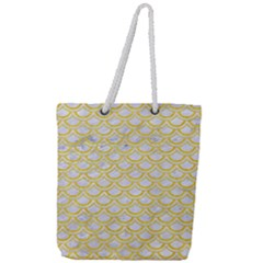 Scales2 White Marble & Yellow Colored Pencil (r) Full Print Rope Handle Tote (large) by trendistuff