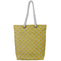 Scales2 White Marble & Yellow Colored Pencil Full Print Rope Handle Tote (small) by trendistuff