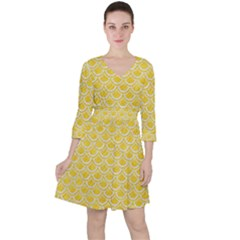 Scales2 White Marble & Yellow Colored Pencil Ruffle Dress