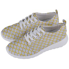 Scales1 White Marble & Yellow Colored Pencil (r) Men s Lightweight Sports Shoes by trendistuff