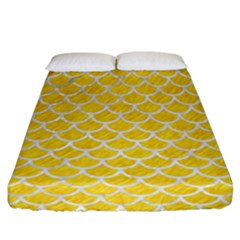 Scales1 White Marble & Yellow Colored Pencil Fitted Sheet (california King Size) by trendistuff