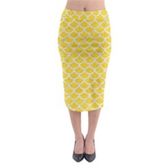 Scales1 White Marble & Yellow Colored Pencil Midi Pencil Skirt by trendistuff