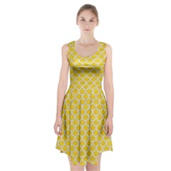 Scales1 White Marble & Yellow Colored Pencil Racerback Midi Dress