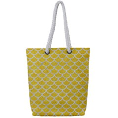 Scales1 White Marble & Yellow Colored Pencil Full Print Rope Handle Tote (small)