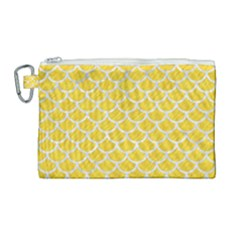 Scales1 White Marble & Yellow Colored Pencil Canvas Cosmetic Bag (large) by trendistuff