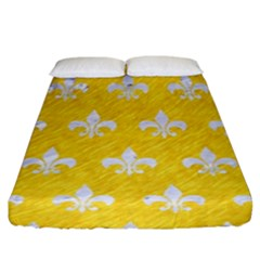Royal1 White Marble & Yellow Colored Pencil (r) Fitted Sheet (king Size) by trendistuff