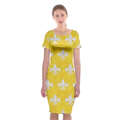 Royal1 White Marble & Yellow Colored Pencil (r) Classic Short Sleeve Midi Dress