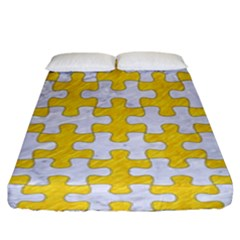 Puzzle1 White Marble & Yellow Colored Pencil Fitted Sheet (king Size) by trendistuff