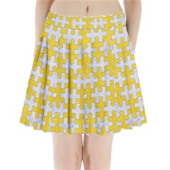 Puzzle1 White Marble & Yellow Colored Pencil Pleated Mini Skirt