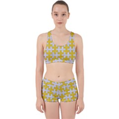 Puzzle1 White Marble & Yellow Colored Pencil Work It Out Sports Bra Set