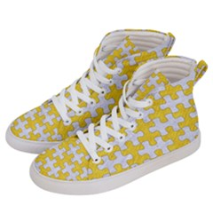 Puzzle1 White Marble & Yellow Colored Pencil Women s Hi Top Skate Sneakers by trendistuff