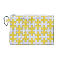 Puzzle1 White Marble & Yellow Colored Pencil Canvas Cosmetic Bag (large) by trendistuff