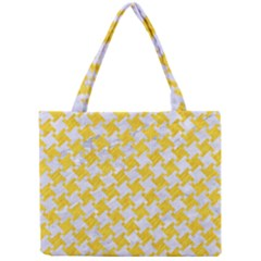 Houndstooth2 White Marble & Yellow Colored Pencil Mini Tote Bag by trendistuff