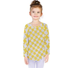 Houndstooth2 White Marble & Yellow Colored Pencil Kids  Long Sleeve Tee