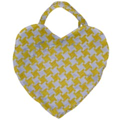 Houndstooth2 White Marble & Yellow Colored Pencil Giant Heart Shaped Tote