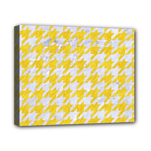 Houndstooth1 White Marble & Yellow Colored Pencil Canvas 10  X 8  by trendistuff
