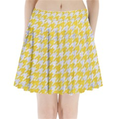 Houndstooth1 White Marble & Yellow Colored Pencil Pleated Mini Skirt