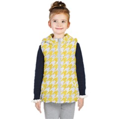 Houndstooth1 White Marble & Yellow Colored Pencil Kid s Puffer Vest by trendistuff