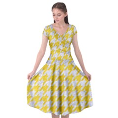 Houndstooth1 White Marble & Yellow Colored Pencil Cap Sleeve Wrap Front Dress