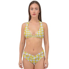 Houndstooth1 White Marble & Yellow Colored Pencil Double Strap Halter Bikini Set