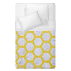 Hexagon2 White Marble & Yellow Colored Pencil (r) Duvet Cover (single Size) by trendistuff
