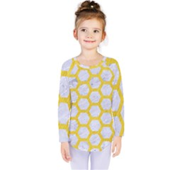 Hexagon2 White Marble & Yellow Colored Pencil (r) Kids  Long Sleeve Tee