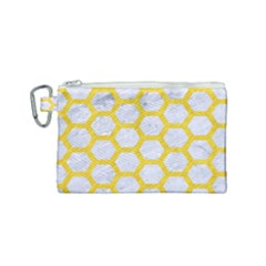Hexagon2 White Marble & Yellow Colored Pencil (r) Canvas Cosmetic Bag (small) by trendistuff