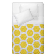 Hexagon2 White Marble & Yellow Colored Pencil Duvet Cover (single Size) by trendistuff