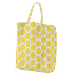 Hexagon2 White Marble & Yellow Colored Pencil Giant Grocery Zipper Tote by trendistuff
