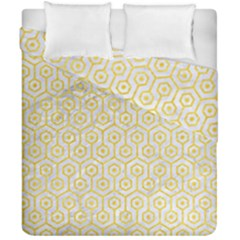 Hexagon1 White Marble & Yellow Colored Pencil (r) Duvet Cover Double Side (california King Size) by trendistuff