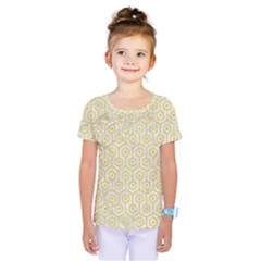 Hexagon1 White Marble & Yellow Colored Pencil (r) Kids  One Piece Tee