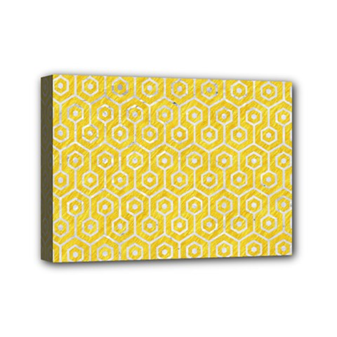 Hexagon1 White Marble & Yellow Colored Pencil Mini Canvas 7  X 5  by trendistuff