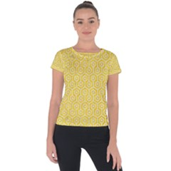 Hexagon1 White Marble & Yellow Colored Pencil Short Sleeve Sports Top