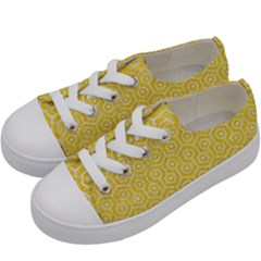 Hexagon1 White Marble & Yellow Colored Pencil Kids  Low Top Canvas Sneakers by trendistuff