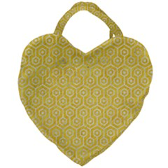 Hexagon1 White Marble & Yellow Colored Pencil Giant Heart Shaped Tote by trendistuff