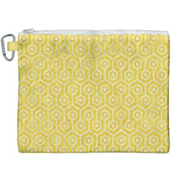 Hexagon1 White Marble & Yellow Colored Pencil Canvas Cosmetic Bag (xxxl) by trendistuff