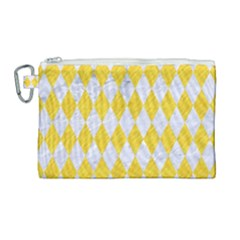 Diamond1 White Marble & Yellow Colored Pencil Canvas Cosmetic Bag (large) by trendistuff