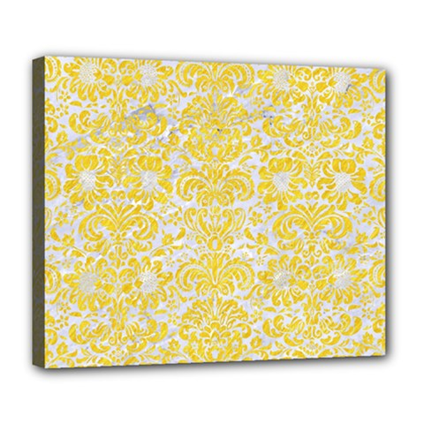 Damask2 White Marble & Yellow Colored Pencil (r) Deluxe Canvas 24  X 20   by trendistuff
